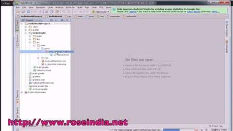 xml tutorial roseindia android studio hello world tutorial