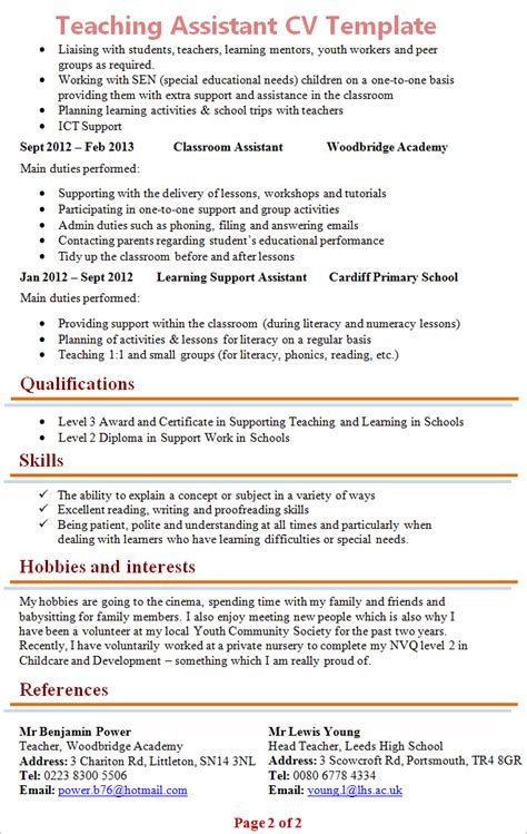 Higher Level Teaching Assistant Application Letter Teaching Assistant Cv Template 2