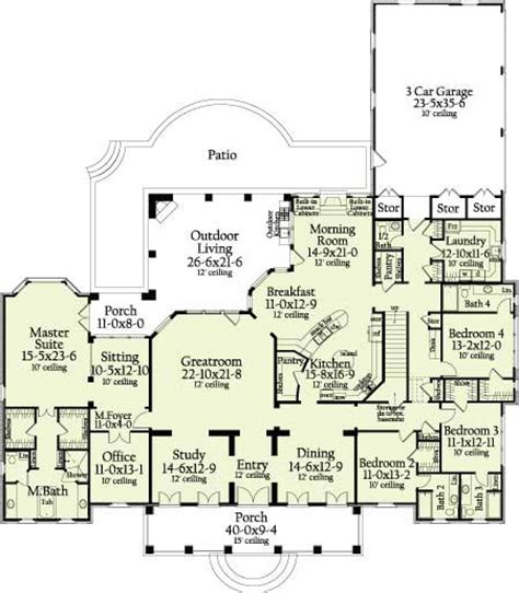 St Landry 6964 4 Bedrooms And 4 Baths The House Designers Country House Plans With No Dining Room