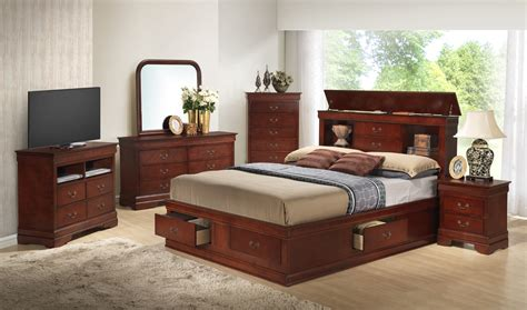 cherry bedroom sets glory furniture g3100 5 piece storage bedroom set in