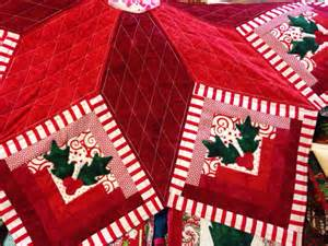 log cabin star quilted christmas tree skirt