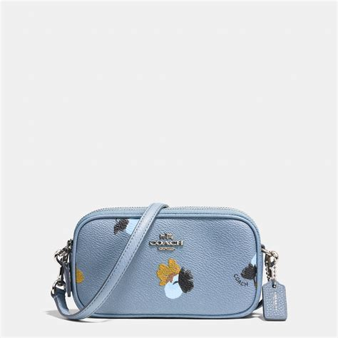 Coach Flowery coach crossbody pouch in floral print coated canvas in metallic lyst
