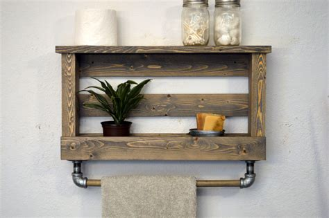 rustic bathroom towel racks rustic modern bathroom shelf bath towel rack by