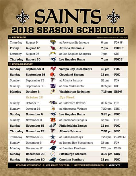New Orleans Saints Schedule 2018 Printable