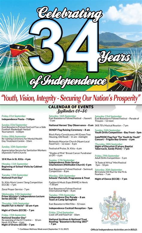 Kitts And Nevis Calendã 2018 Independence 34 Offical Calendar Of Activities Launched