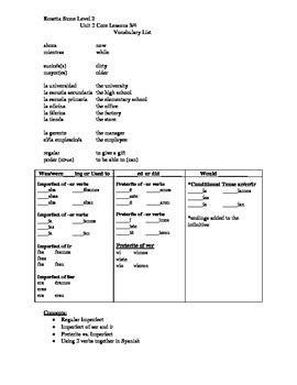 rosetta stone english level 6 pdf rosetta stone spanish level 2 unit 2 vocabulary list