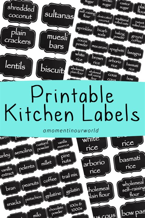 printable kitchen labels simple living creative learning