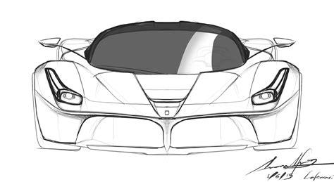 ferrari front drawing simple automotive speedart the ferrari laferrari youtube