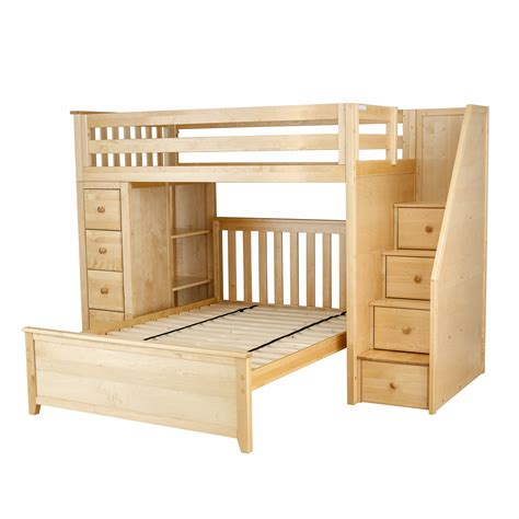 all in one loft bed all in one staircase loft bed storage full bed natural