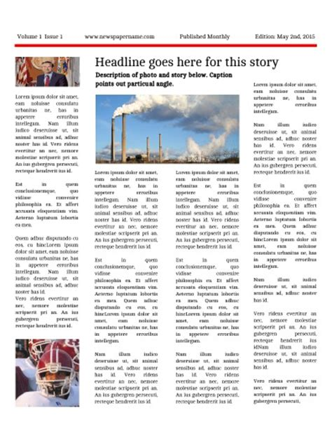 student newsletter templates free newspaper templates for students