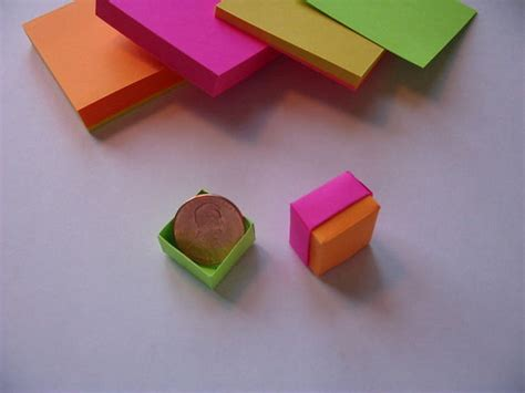 How To Make Origami With Sticky Notes - origami post it box