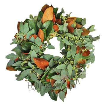 magnolia and seeded eucalyptus wreaths