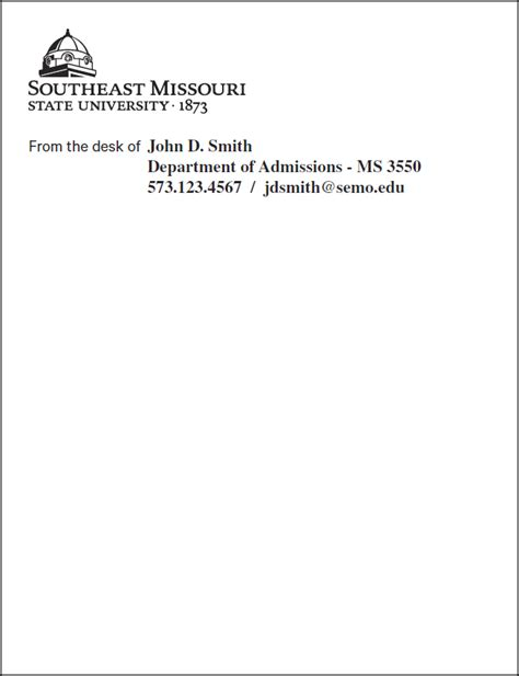 Official Stationery Southeast Missouri State University From The Desk Of Email Template
