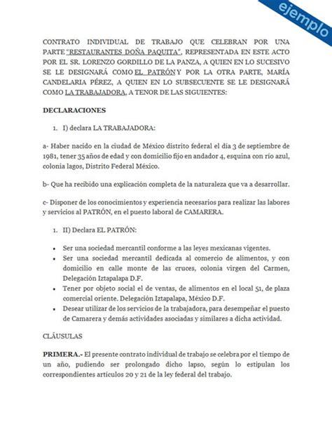 formato modelo o ejemplo de contrato de asimilados a salarios ejemplos de contrato individual de trabajo