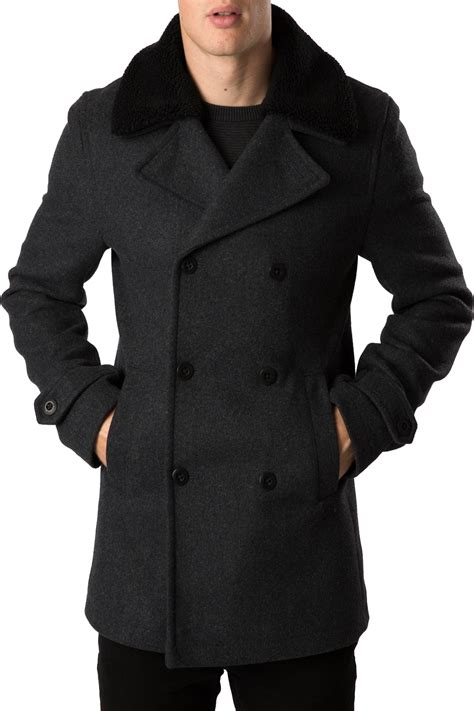 fleece collared jacket threadbare mens coat wired formal breasted