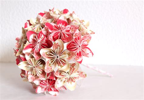 How To Make Paper Flower Bouquets For Weddings - wedding origami paper flower bouquet pink and beige