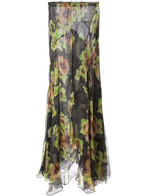 marant floral print maxi skirt in black green lyst