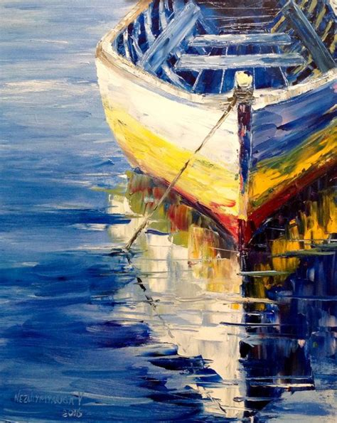 boat canvas art boat reflection oil painting seascape ocean painting boat