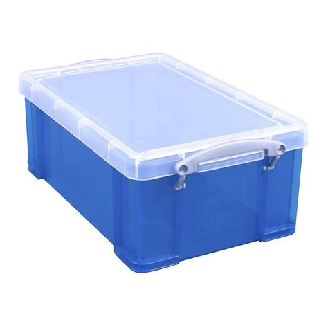 Plastic L Cover by Storage Box With Cover Volume 9 To 35 L Plastic Transparent Blue