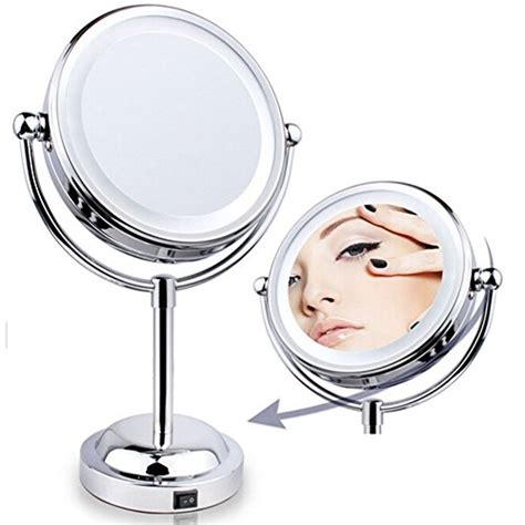 Best Lighted Magnified Makeup Mirror by Led Lighted Vanity Makeup Mirror Two Sided Magnifying