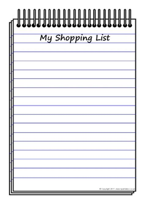 printable grocery list for toddlers lists writing frames and printable page borders ks1 ks2