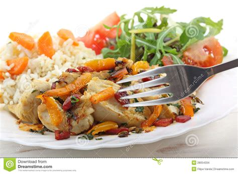 saut 233 ed fried breast chicken with vegetables and salad stock images image 28054334