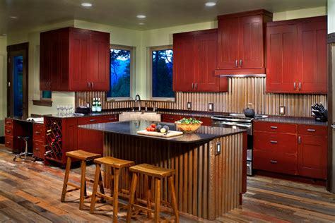 corrugated metal backsplash kitchen modern with reclaimed