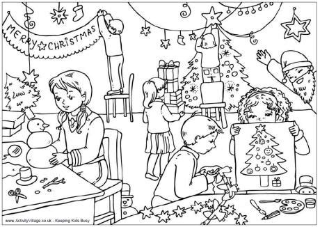 activity village christmas classroom colouring page