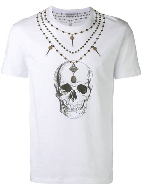 Shirt Neackless Chain Bhn Jersey Use Xl mcqueen skull necklace print t shirt in white for save 12 lyst