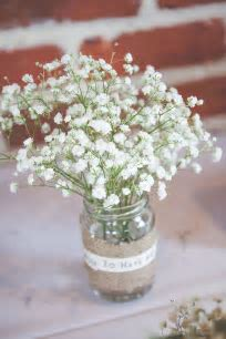 burlap wedding jam jars gypsophila   Wedding flower