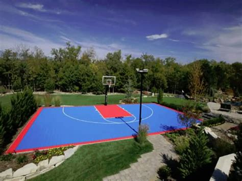 Backyard Scoreboards Outdoor Basketball Court Tile For Backyard Courts