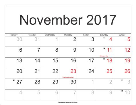 Calendar Printable 2017 November November 2017 Calendar Printable With Holidays Pdf And Jpg