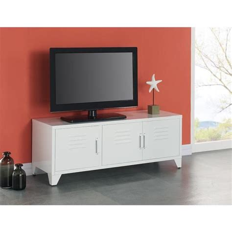 Camden Meuble Tv Industriel En M 233 Tal Laqu 233 Blanc L 120 Meuble D Angle Industriel Maison Design Homedian