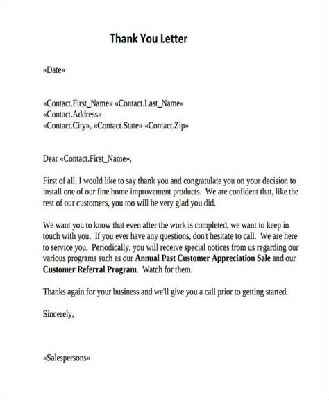 thank you letter after sle customer service 69 thank you letter exles