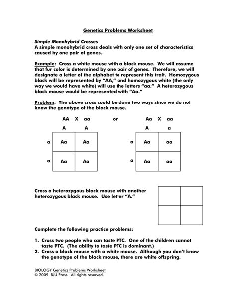 Genetics Practice Problems 3 Monohybrid Problems Worksheet 1 Answers by Monohybrid Cross Practice Worksheet Resultinfos