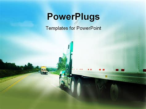 powerpoint templates transportation passing a transportation truck on a highway powerpoint