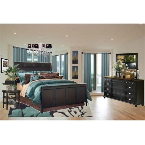 teal and brown bedroom via polyvore created by