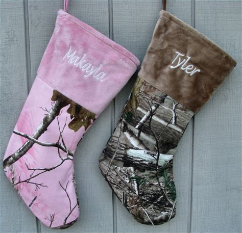 realtree camo christmas stockings pink or brown personalized