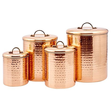 storage canisters for kitchen kitchen storage canisters 4 pc set hammered copper metal