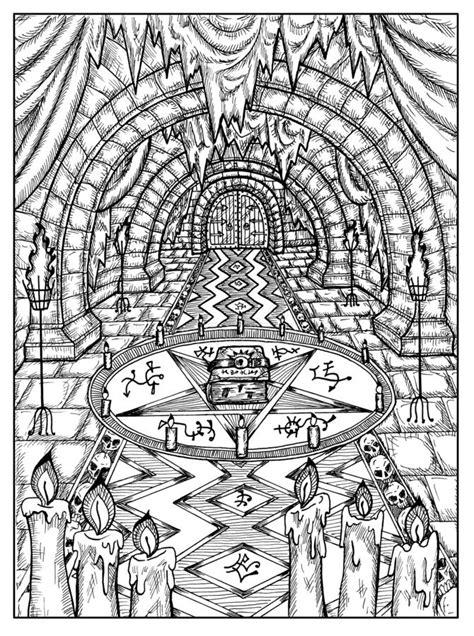 Desenho Preto E Branco Com Símbolos Místicos, Espirituais
