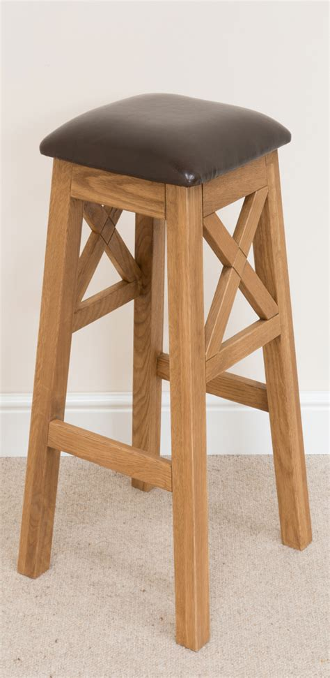 Wooden Breakfast Bar Stool Cross Bar Stool 195 Solid Oak Brown Leather Bar Stools Bar Stool Wooden Stools Wooden Bar