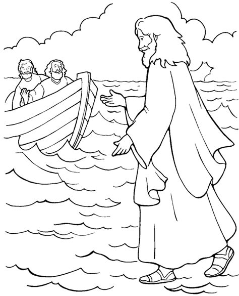 coloring pages for jesus walking on water jesus walks on water coloring page