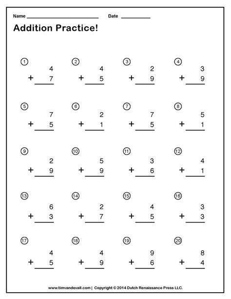 printable addition worksheets part  worksheet