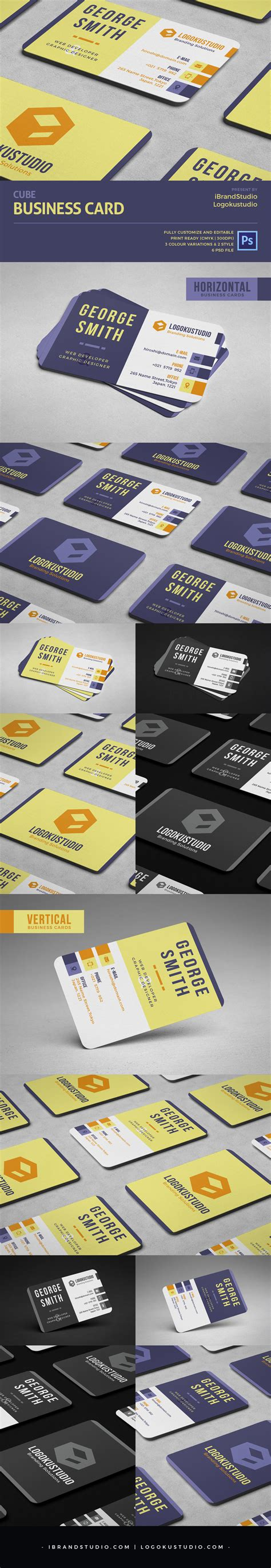 Cube Business Card Template by Free Cube Business Card Template 2 Styles 3 Colors Psd