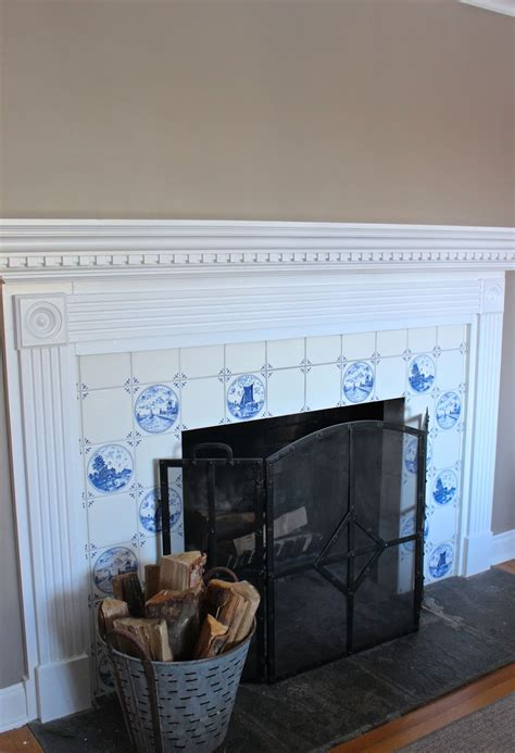 blue white fireplace tile should it stay or go