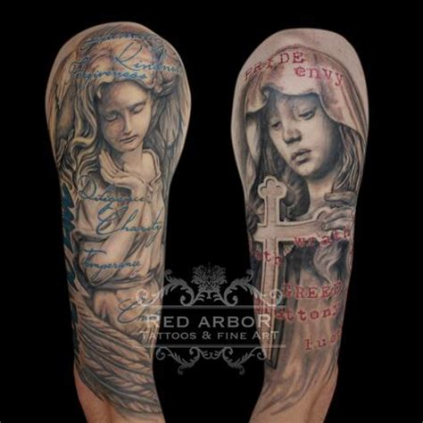 tattoo christian sin religious angel deadly sins and virtues