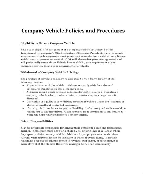 Company Policy Template 14 Free Pdf Documents Download Free Premium Templates Company Vehicle Use Policy Template