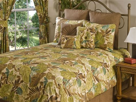 tropical bedding king 4pc green chocolate taupe tropical leaf design comforter