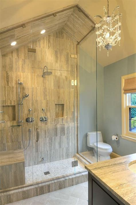 bathroom slope sloped ceiling for steam shower and chandelier lighting