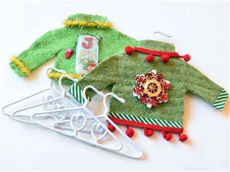 how to make mini ugly sweater christmas tree ornaments hgtv